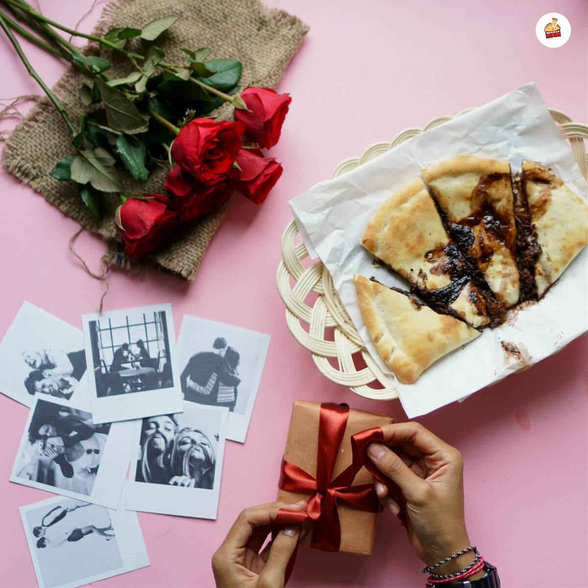Melting Choco Cheese Panties Pizza With Small Brown Box With Red Rose Melting of Choco Cheese Slide